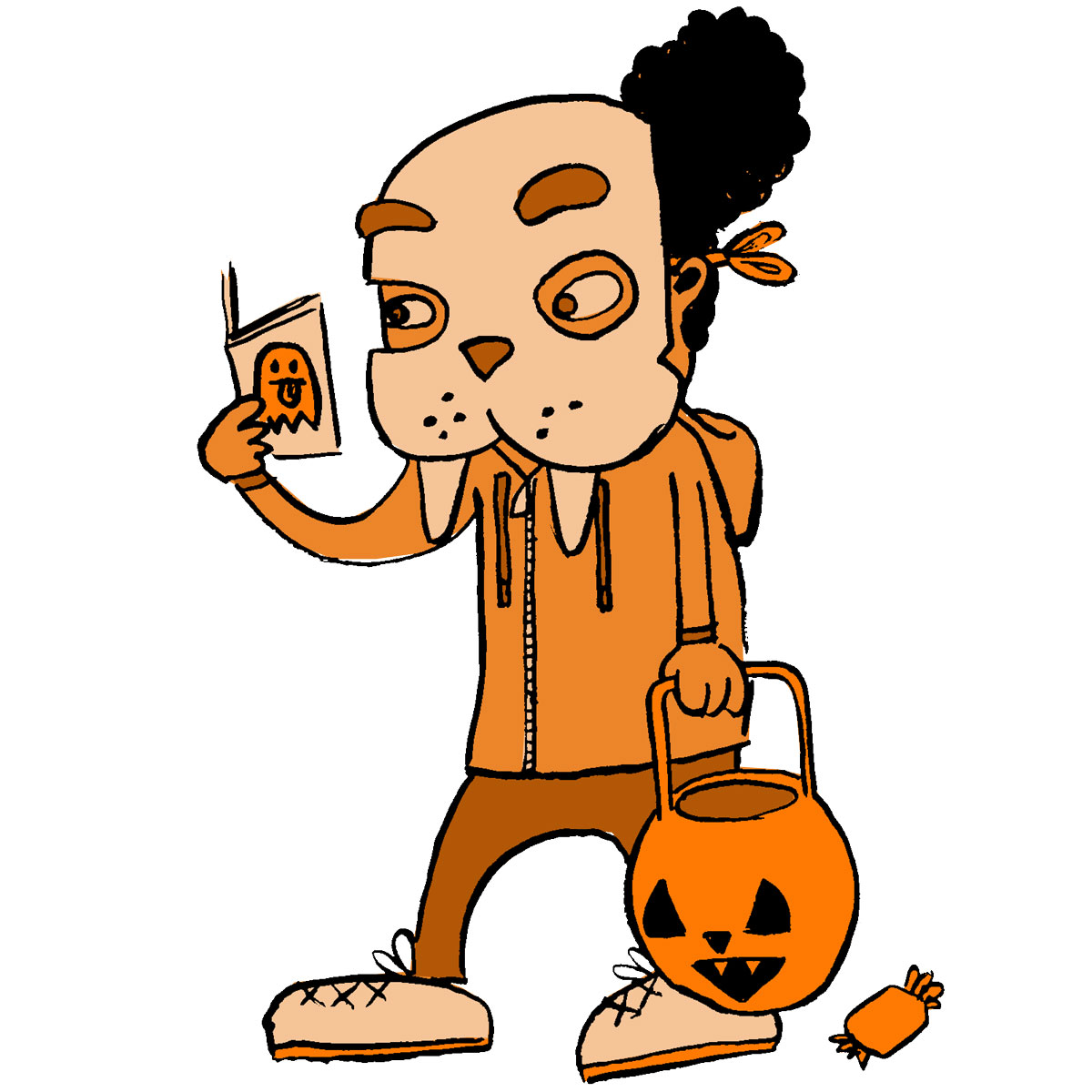 a child in reading a comic while trick-or-treating as a walrus