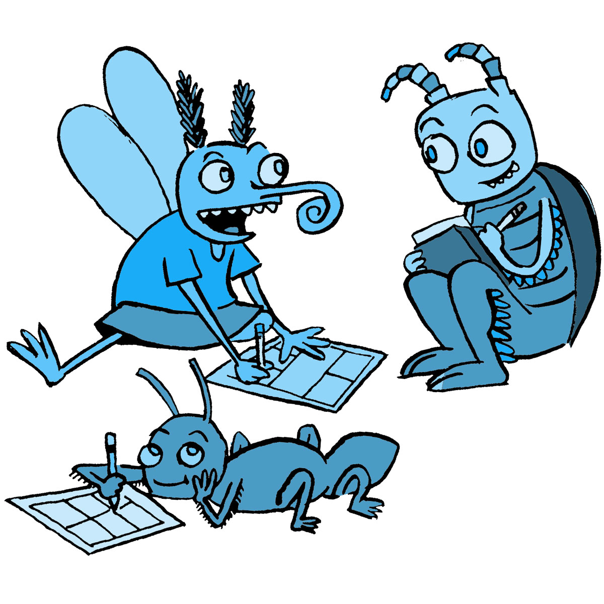 insects drawing comics together and chatting